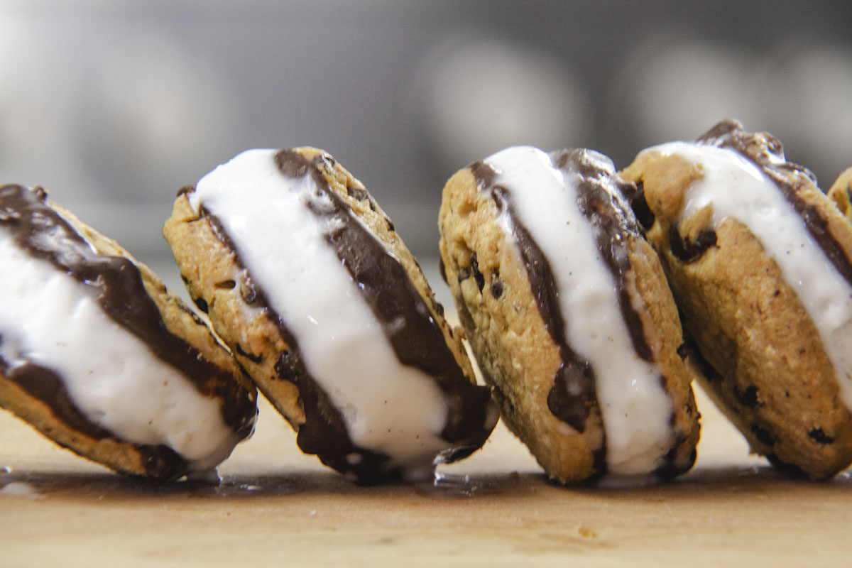 Choc Chip Vegan Ice-cream Sandwiches