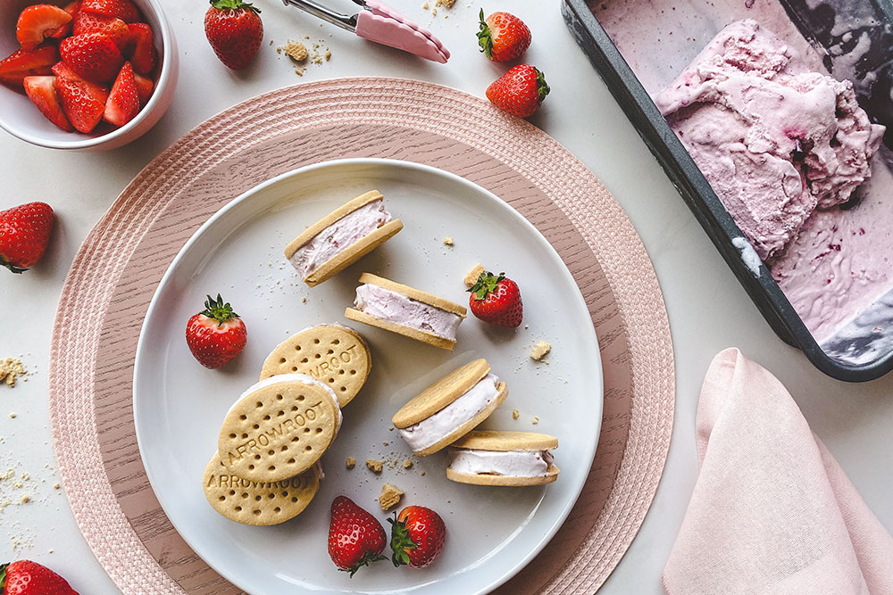 Roasted Strawberry Coconut Ice Cream Arrowroot Sandwiches