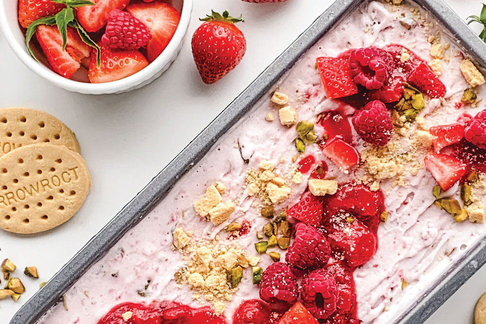 Summer Berry Ripple with Pistachio Crumble Ice Cream